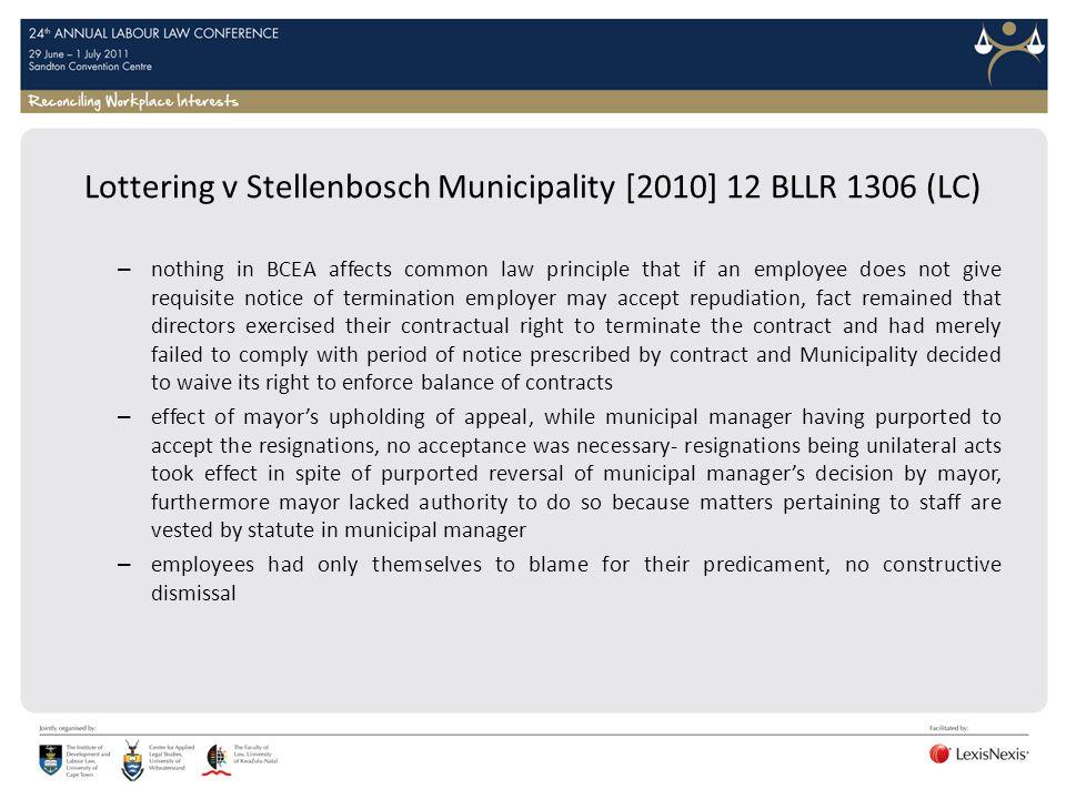 Lottering v Stellenbosch Municipality [2010] 12 BLLR 1306 (LC)